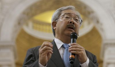 In this Nov. 14, 2016 photo, San Francisco Mayor Ed Lee speaks during a meeting at City Hall in San Francisco. For nearly a decade, George Lucas has been trying to build a museum for his extensive personal art collection. San Francisco has offered Lucas the site of Treasure Island, across the Bay from the city's popular Embarcadero neighborhood. (AP Photo/Jeff Chiu)