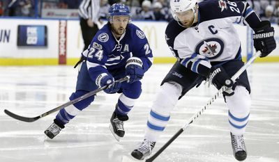 Tampa Bay Lightning right wing Ryan Callahan (24) closes in on Winnipeg Jets right wing Blake Wheeler (26) during the second period of an NHL hockey game Tuesday, Jan. 3, 2017, in Tampa, Fla. (AP Photo/Chris O'Meara)