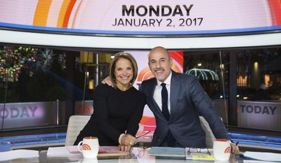 In this photo provided by NBC, Katie Couric, left, joins Matt Lauer on NBC News' TODAY show Monday, Jan. 2, 2017, in New York. Couric returned to the co-anchor chair for the first time in more than a decade Monday. She made cameo appearances on the show in recent years, but Monday was her first time as a guest co-anchor. (Nathan Congleton/NBC News' TODAY via AP)