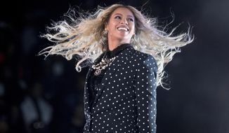 FILE - In this Nov. 4, 2016 file photo, Beyonce performs at a Get Out the Vote concert for Democratic presidential candidate Hillary Clinton in Cleveland. Beyonce will be one of the headliners of the 2017 Coachella music festival. Goldenvoice announced Tuesday, Jan. 3, 2017, that Beyonce, Radiohead and Kendrick Lamar will headline the two-weekend festival in April in Indio, California. (AP Photo/Andrew Harnik, File)