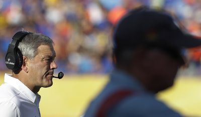Iowa head coach Kirk Ferentz during the second half of the Outback Bowl NCAA college football game against Florida, Monday, Jan. 2, 2017, in Tampa, Fla. (AP Photo/Chris O'Meara)
