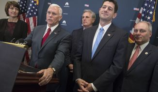 From left, Rep. Cathy McMorris Rodgers, R-Wash., chair of the House Republican Conference, Vice President-elect Mike Pence, House Majority Leader Kevin McCarthy of Calif., House Speaker Paul Ryan of Wis., and House Majority Whip Steve Scalise of La., meet with reporters on Capitol Hill in Washington, Wednesday, Jan. 4, 2017, following a closed-door meeting with the GOP caucus to discuss repeal of President Obama's health care law now that the GOP is in charge of White House and Congress. (AP Photo/J. Scott Applewhite)