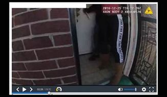 """The Metropolitan Police Department released body camera footage of a fatal police-involved shooting on Christmas Day 2016. The video footage shows Javon Hall, 29, holding a knife while standing in a doorway at a home in Northeast. An officer fatally shot Hall four times in the chest after Hall did not comply with the officer's order to """"drop the knife."""" Photo courtesy of Metropolitan Police"""