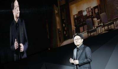 Skott Ahn, President and Chief Technology Officer for LG Electronics, speaks during an LG news conference before CES International, Wednesday, Jan. 4, 2017, in Las Vegas. (AP Photo/John Locher)
