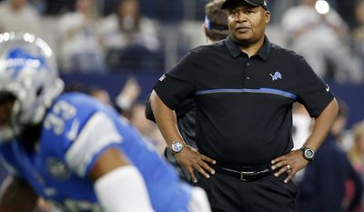 FILE - In this Monday, Dec.26, 2016, file photo, Detroit Lions head coach Jim Caldwell watches his team warm up before an NFL football game a giants the Dallas Cowboys in Arlington, Texas. Caldwell has been retained to coach the Lions for the 2017 season. The team announced the move Wednesday morning, Jan. 4, 2017, a day after Caldwell fielded questions about his job security. (AP Photo/Michael Ainsworth, File)