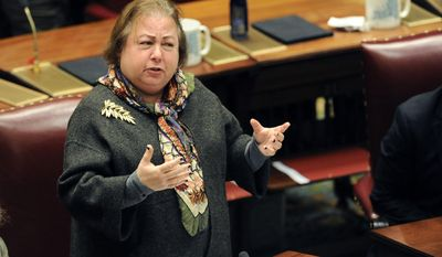 Sen. Liz Krueger, D-New York, speaks to members of the New York State Senate during opening day of the 2017 legislative session at the Capitol on Wednesday, Jan. 4, 2017, in Albany, N.Y. (AP Photo/Hans Pennink)