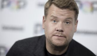 """FILE - In this Oct. 30, 2016, file photo, James Corden attends the 2016 Entertainment Weekly's Popfest in Los Angeles. Corden paid tribute to late singer George Michael on the """"Late Late Show"""" on Jan. 3, 2017. (Photo by Richard Shotwell/Invision/AP, File)"""