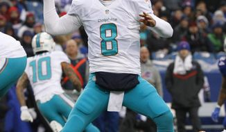 FILE - In this Dec. 24, 2016, file photo, Miami Dolphins quarterback Matt Moore (8) throws a pass against the Buffalo Bills during the second half of an NFL football game, in Orchard Park, N.Y. The Dolphins play the pittsburgh Steelers in a Wild Card game on Sunday, Jan. 8. (AP Photo/Bill Wippert, File)