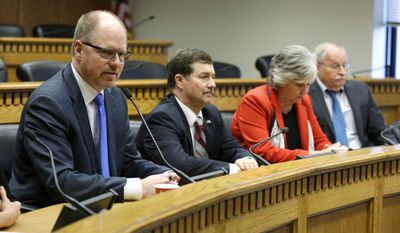 From left, House Minority Leader Dan Kristiansen, R-Snohomish, Senate Majority Leader Mark Schoesler, R-Ritzville, Senate Minority Leader Sharon Nelson, D-Maury Island, and House Speaker Frank Chopp, D-Seattle, take part in the annual AP Legislative Preview, Thursday, Jan. 5, 2017, at the Capitol in Olympia, Wash. (AP Photo/Ted S. Warren)