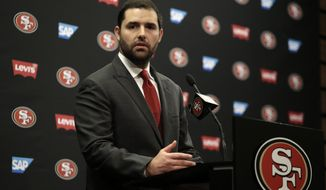 FILE - In this Monday, Jan. 4, 2016, file photo, San Francisco 49ers Chief Executive Officer Jed York gestures while speaking to reporters during a media conference in Santa Clara, Calif. A look at the positives, negatives about each of the 6 NFL coaching vacancies, from the best (Broncos) to the worst (49ers). Why it's a good gig: Hmmmm. San Francisco's a terrific city? The stadium is relatively new? There's nowhere to go but up? (AP Photo/Ben Margot, File)