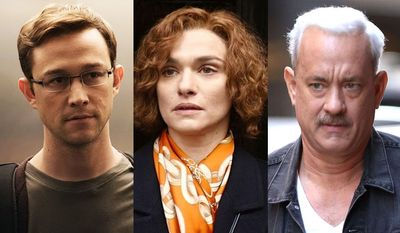 """Joseph Gordon-Levitt as Edward Snowden in """"Snowden,"""" Tom Hanks as Capt. Chesley Sullenberger in """"Sully"""" and Rachel Weisz as Deborah Lipstadt in """"Denial,"""" all available on Blu-ray."""