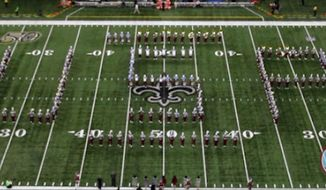 """""""The Marching Tornado Band performing at the New Orleans Saints Football Game"""" (Instagram/@talladegacollegemarchingband)"""