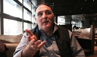 In this Oct. 26, 2015, file photo, chef Jose Andres speaks in New York. (AP Photo/Beth J. Harpaz, File)