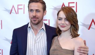 Ryan Gosling, left, and Emma Stone arrive at the AFI Awards at the Four Seasons Hotel on Friday, Jan. 6, 2017, in Los Angeles. (Photo by Chris Pizzello/Invision/AP)