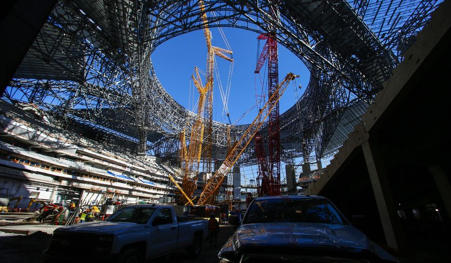 In this photo taken friday dec 2 2016 construction of for Hotels near mercedes benz stadium atlanta