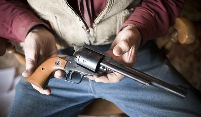 In this Dec. 23, 2016, Gap Pucci holds a single-action Ruger .44 Magnum he used to fend off a bear attack in 1983 in the Gros Ventre Wilderness, in Wyo. The bear's pelt is one of several that hangs in Pucci's house, and the encounter with the bruin is chronicled in his new book of memoirs, which he hopes to publish this year. (Bradly J. Boner  /Jackson Hole News & Guide via AP)