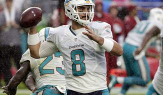 FILE - In this Sunday, Dec. 11, 2016, file photo, Miami Dolphins quarterback Matt Moore (8) looks to pass during the second half of an NFL football game against the Arizona Cardinals in Miami Gardens, Fla. Moore will make his first postseason start for the Dolphins with Ryan Tannehill out because of an injury. (AP Photo/Wilfredo Lee, File)