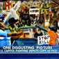 A painting depicting police officers as pigs is shown in this screen shot from a Fox News Channel report. Rep. Duncan Hunter, California Republican, told the cable network that he removed it from its display in the U.S. Capitol complex and delivered it to the office of a Missouri Democrat which had sponsored the painting. (Fox News)