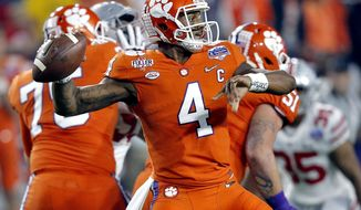 FILE - In this Saturday, Dec. 31, 2016 file photo, Clemson quarterback Deshaun Watson (4) throws against Ohio State during the first half of the Fiesta Bowl NCAA college football playoff semifinal in Glendale, Ariz. For the second straight season, the Clemson and Alabama will meet for the College Football Playoff championship.  While it's safe to assume quarterbacks Deshaun Watson and Jalen Hurts will play pivotal roles in the game Monday, Jan. 9, 2017, at Raymond James Stadium in Tampa, Florida, you never know who will emerge as a star on the big stage, especially with the most talented rosters in college football facing off.(AP Photo/Ross D. Franklin, File)
