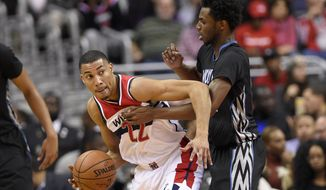 Washington Wizards forward Otto Porter Jr., left, dribbles against Minnesota Timberwolves forward Andrew Wiggins, right, during the first half of an NBA basketball game, Friday, Jan. 6, 2017, in Washington. (AP Photo/Nick Wass)