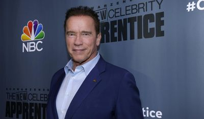 """This Dec. 9, 2016 image released by NBC shows Arnold Schwarzenegger, the new boss of """"The New Celebrity Apprentice,"""" at a press junket in Universal City, Calif. (Paul Drinkwater/NBC via AP)"""