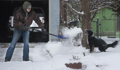 Zach Starcer tosses a shovel full of snow to his six-year-old boarder collie, Callie, while clearing the driveway in Pueblo, Colo., Thursday, Jan. 5, 2017 in Pueblo, Colo. Skiers throughout the West gleefully flocked to resorts Thursday to take advantage of deep, fresh snow dumped by a series of winter storms that were moving east and threatening turbulent weather across much of the Southwest. The storms pounded parts of California, Utah, Colorado and other states as they made their way east. (Bryan Kelsen/The Pueblo Chieftain via AP)