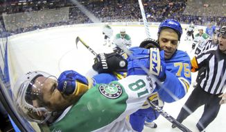 St. Louis Blues right wing Ryan Reaves tangles with Dallas Stars right wing Patrick Eaves after the whistle in the second period of an NHL hockey game Saturday, Jan. 7, 2017, in St. Louis. (Chris Lee /St. Louis Post-Dispatch via AP)