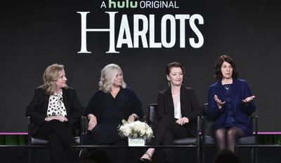 "Debra Hayward, from left, Alison Owen, Lesley Manville and Moira Buffini attend the ""Harlots"" panel at the Hulu portion of the 2017 Winter Television Critics Association press tour on Saturday, Jan. 7, 2017 in Pasadena, Calif. (Photo by Vince Bucci/Invision/AP)"