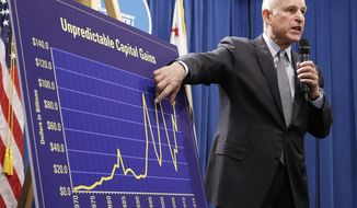 FILE - In this May 13, 2016 file photo, California Gov. Jerry Brown gestures to a chart showing the unpredictable capital gains revenues as he discusses his revised 2016-17 state budget plan in Sacramento, Calif. Brown will release his proposed state budget on Jan. 10, 2017, outlining his spending priorities during a period of deep uncertainty about California's finances as President-elect Donald Trump prepares to take office. (AP Photo/Rich Pedroncelli, File)