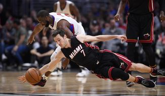 Los Angeles Clippers guard Raymond Felton, left, and Miami Heat guard Goran Dragic, of Slovenia, go after a loose ball during the first half of an NBA basketball game, Sunday, Jan. 8, 2017, in Los Angeles. (AP Photo/Mark J. Terrill)