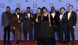 "The cast and crew of ""Atlanta"" poses in the press room with the award for best television series - musical or comedy at the 74th annual Golden Globe Awards at the Beverly Hilton Hotel on Sunday, Jan. 8, 2017, in Beverly Hills, Calif. (Photo by Jordan Strauss/Invision/AP)"