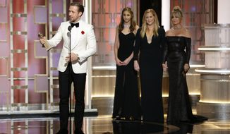 "This image released by NBC shows Ryan Gosling with the award for best actor in a motion picture musical or comedy for ""La La Land,"" at the 74th Annual Golden Globe Awards at the Beverly Hilton Hotel in Beverly Hills, Calif., on Sunday, Jan. 8, 2017. (Paul Drinkwater/NBC via AP)"