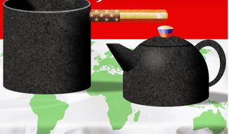 Illustration on the U. S. history of meddling in international affairs by Alexander Hunter/The Washington Times