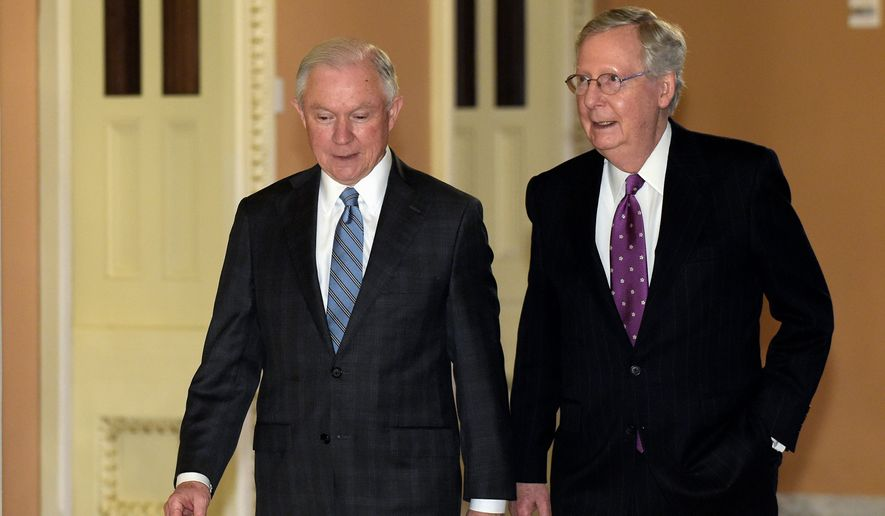 Sen. Jeff Sessions walks with Senate Majority Leader Mitch McConnell on Capitol Hill. Democrats will challenge Mr. Sessions, President-elect Donald Trump's pick for attorney general, over his hard-line stand on immigration, his record on civil rights and his support for community policing when he appears before the Senate Judiciary Committee. (Associated Press)