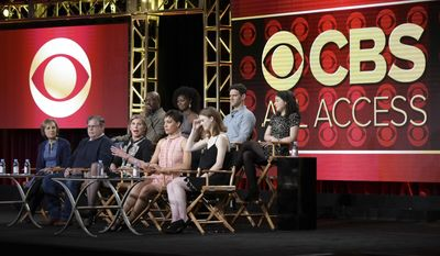 "Delroy Lindo, back row from left, Erica Tazel, Justin Bartha, Sarah Steele, Michelle King, Robert King, Christine Baranski, Cush Jumbo and Rose Leslie attend ""The Good Fight"" panel at The CBS portion of the 2017 Winter Television Critics Association press tour on Monday, Jan. 9, 2017, in Pasadena, Calif. (Photo by Richard Shotwell/Invision/AP)"