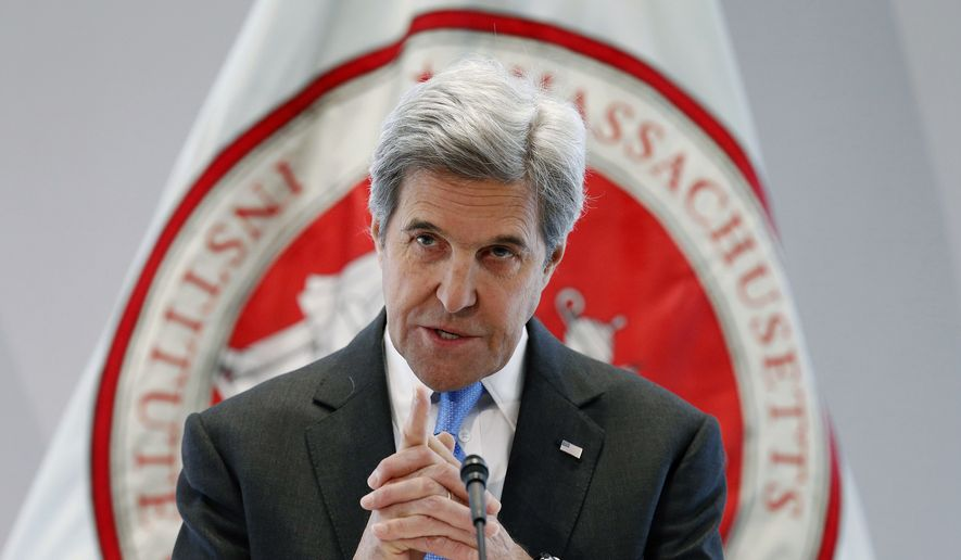 Then-Secretary of State John Kerry speaks during a conference on climate change and innovation in clean energy at the Massachusetts Institute of Technology in Cambridge, Mass., Monday, Jan. 9, 2017. (Associated Press) **FILE**