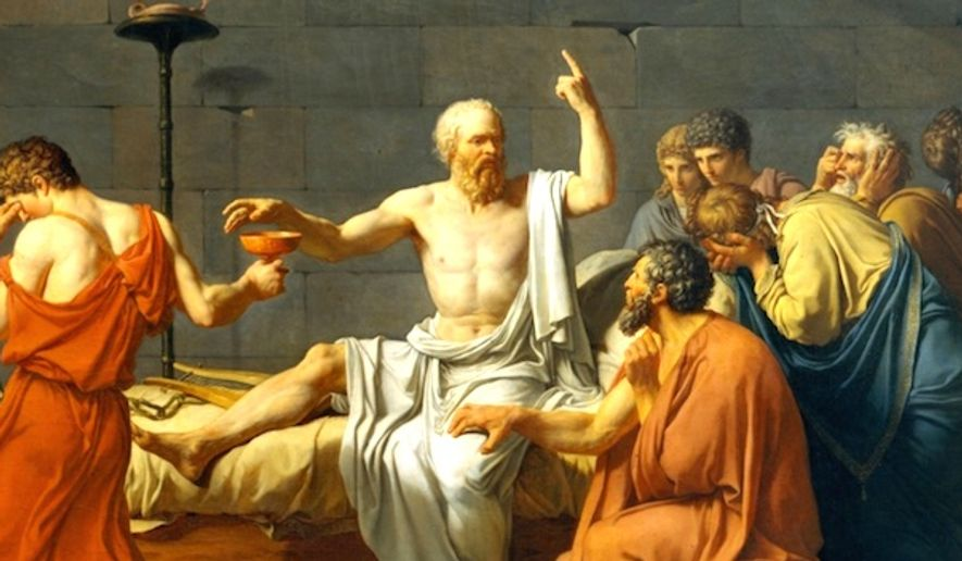 """The Death of Socrates,"" by Jacques-Louis David, 1787. (History screenshot)"