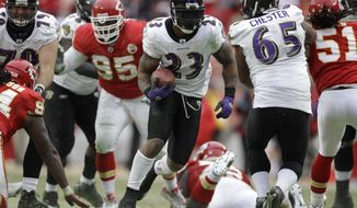 FILE- In this Jan. 9, 2011, file photo, Baltimore Ravens running back Willis McGahee runs for a 25-yard touchdown during the fourth quarter of an NFL AFC wild card football playoff game against the Kansas City Chiefs in Kansas City, Mo. The Ravens defeated the Chiefs 30-7. The Chiefs haven't won a playoff game at home in more than 20 years. The Chiefs host the Pittsburgh Steelers on Sunday in the divisional round of the playoffs. (AP Photo/Jeff Roberson, File)