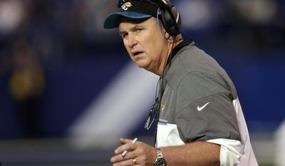FILE - In this Jan. 1, 2017, file photo, Jacksonville Jaguars interim coach Doug Marrone watches from the sideline during the team's NFL football game against the Indianapolis Colts in Indianapolis. According to a person familiar with the search, the Jaguars are planning to offer Marrone their head coaching job. The person spoke on condition of anonymity because the team has not confirmed the hiring. ESPN first reported Marrone had been chosen to replace Gus Bradley, who was fired in late November after going 14-48 in three-plus seasons. (AP Photo/AJ Mast, File)
