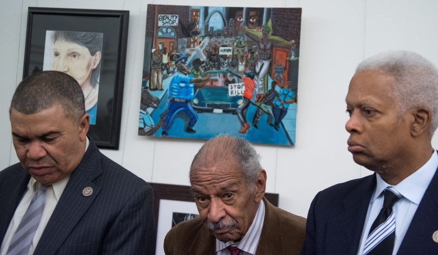 From left, Democratic Reps. William Lacy Clay of Missouri, John Conyers of Michigan, and Hank Johnson of Georgia speak in front of a painting by Missouri high school student David Pulphus after it was rehung on on Tuesday. The painting had been removed from the Congressional Art Competition display in Cannon tunnel by Rep. Duncan Hunter, California Republican. (Associated Press)