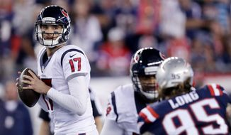 Houston quarterback Brock Osweiler guaranteed a victory by the 16-point underdog Texans over the New England Patriots in Saturday's AFC Divisional Playoff game. (Associated Press)