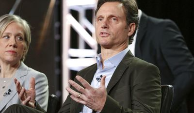 """Tony Goldwyn speaks at the """"Scandal"""" panel at the Disney/ABC portion of the 2017 Winter Television Critics Association press tour on Tuesday, Jan. 10, 2017, in Pasadena, Calif. (Photo by Rich Fury/Invision/AP)"""