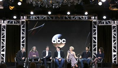 "Patrick Osborne, from left, David Guarascio, Doug Robinson, Adam F. Goldberg, Jenna Elfman, Stephen Schneider and Rachel Dratch appear at the ""Imaginary Mary"" panel at the Disney/ABC portion of the 2017 Winter Television Critics Association press tour on Tuesday, Jan. 10, 2017, in Pasadena, Calif. (Photo by Rich Fury/Invision/AP)"