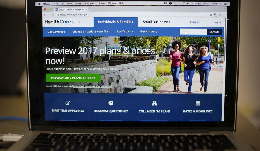 In this Oct. 24, 2016, file photo, the HealthCare.gov 2017 web site home page as seen in Washington. On Jan. 20, 2017, President Trump signed an executive order that takes aim at the individual mandate of the Affordable Care Act, which requires Americans to buy health insurance or pay a penalty to the government at tax time. (AP Photo/Pablo Martinez Monsivais) **FILE**