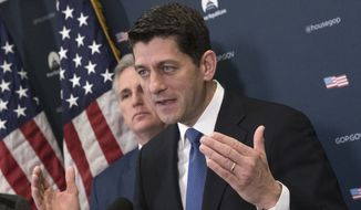 House Speaker Paul Ryan of Wis., accompanied by House Majority Leader Kevin McCarthy of Calif., meets with reporters on Capitol Hill in Washington, Tuesday, Jan. 10, 2017, to discuss efforts to replace the Affordable Care Act, following a closed-door meeting with the GOP caucus. (J. Scott Applewhite/Associated Press) ** FILE **