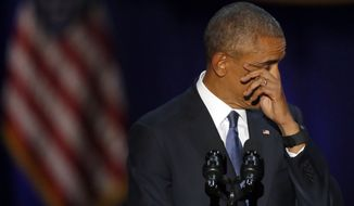 President Obama wipes away tears as he gives his presidential farewell address Tuesday at McCormick Place in Chicago. (Associated Press)