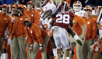 Alabama's Anthony Averett breaks up a pass intended for Clemson's Mike Williams during the second half of the NCAA college football playoff championship game Monday, Jan. 9, 2017, in Tampa, Fla. (AP Photo/David J. Phillip)