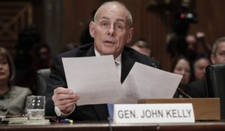 """Retired Marine Gen. John Kelly, President-elect Donald Trump's pick to lead the Department of Homeland Security, said U.S. Border Patrol agents need to be allowed to go after migrants, and he criticized the Obama administration for giving """"a pass"""" to the illegal immigrants caught inside the U.S. and to the cities and counties that shield them. (Associated Press)"""
