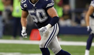 FILE - In this Nov. 24, 2016, file photo, Dallas Cowboys outside linebacker Sean Lee defends during an NFL football game against the Washington Redskins in Arlington, Texas. Lee was forced to watch Dallas in the playoffs two years ago, including a loss at Green Bay, because of one of the many injuries that have plagued his seven-year career. Healthy and coming off his first All-Pro season, the Cowboys linebacker will make his playoff debut this weekend against the Packers. (AP Photo/Roger Steinman, File)