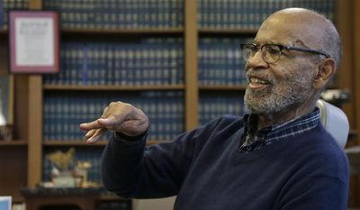 U.S. District Court Judge Thelton Henderson gestures while interviewed in his chambers in San Francisco, Tuesday, Jan. 10, 2017. Henderson, the first African-American attorney in the Justice Department's civil rights division, says he knows there will be more civil rights battles under the Trump administration, but at 83, he no longer has the energy to fight them. (AP Photo/Jeff Chiu)
